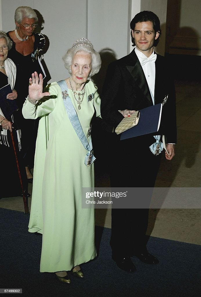 Princess Lilian of Sweden and Prince Carl Philip of Sweden arrive for the Gala Dinner at Royal Palace to celebrate King Carl Gustaf XVI of Sweden's 60th Birthday on April 30, 2006 in Stockholm, Sweden.