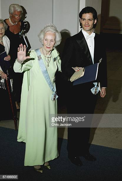 Princess Lilian of Sweden and Prince Carl Philip of Sweden arrive for the Gala Dinner at Royal Palace to celebrate King Carl Gustaf XVI of Sweden's...