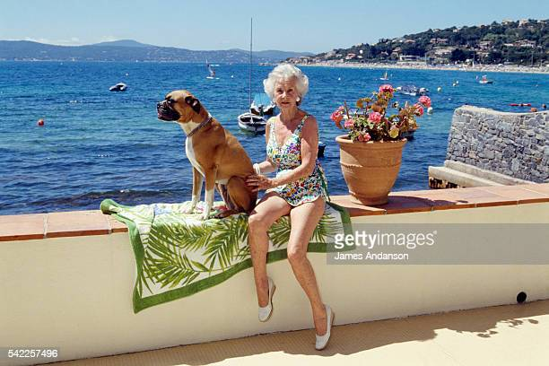 Princess Lilian of Sweden, Duchess of Halland on summer vacation in her Côte d'Azur home.
