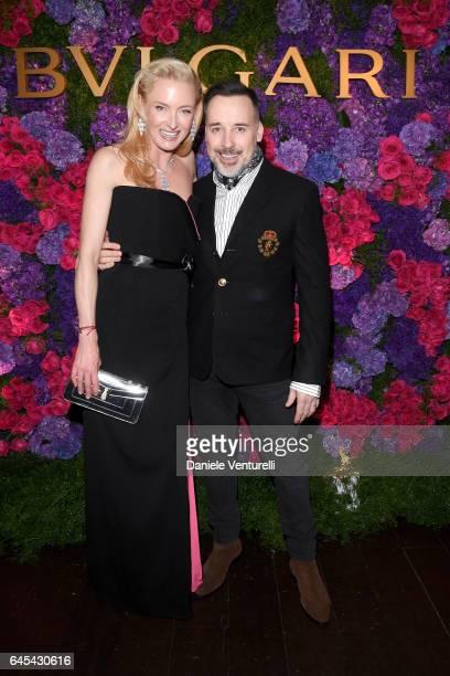 Princess Lilly Zu Sayn Wittgenstein Berleburg and filmmaker David Furnish attend Bulgari's PreOscar Dinner at Chateau Marmont on February 25 2017 in...
