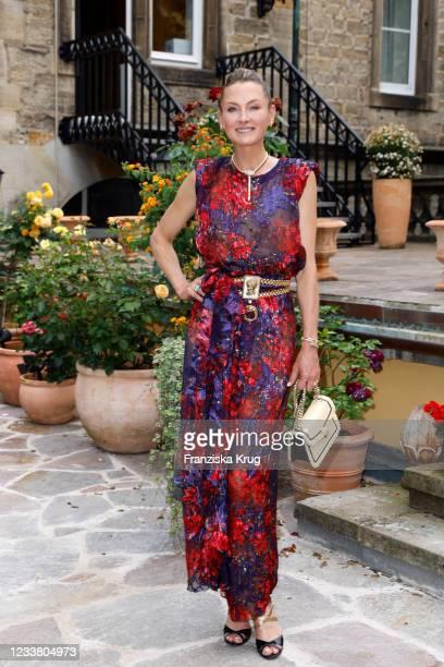 Princess Lilly zu Sayn Wittgenstein-Berleburg wearing Bvlgari Serpenti Jewellery during the private concert castle Bueckeburg on July 4, 2021 in...