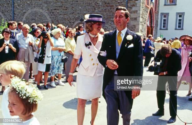 Princess Lioba zu Oettingen and Wallerstein and Alexander Prince of Sayn Wittgenstein Sayn at Bendorf, Germany, 1994.