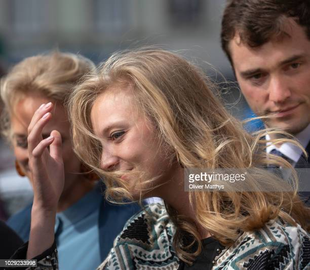Princess Louisa Maria of Belgium and Prince Amadeo of Belgium leave a the mass to remember the 25th anniversary of the death of King Baudouin at...