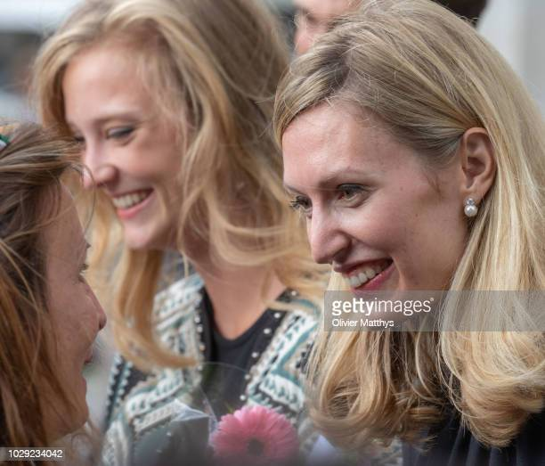 Princess Louisa Maria of Belgium and Princess Elisabetta von Rosboch Wolkenstein leave a the mass to remember the 25th anniversary of the death of...