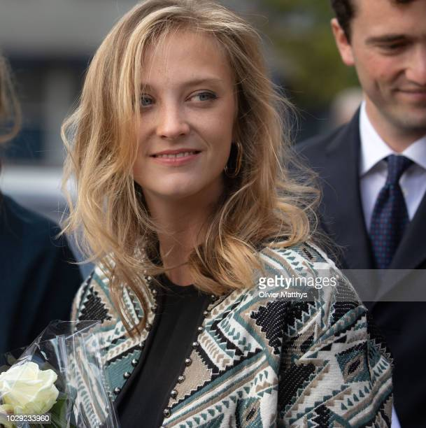 Princess Louisa Maria of Belgium leaves a the mass to remember the 25th anniversary of the death of King Baudouin at Notre Dame Church on September...