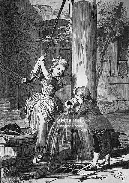 Princess louise, 14 years, and her brother, 11 years, at the fountain of frau goethe in frankfurt, germany, woodcut, historical engraving europe