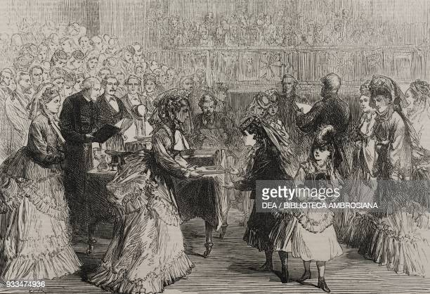 Princess Louise giving the prizes of the Royal Society for the prevention of cruelty to animals United Kingdom illustration from the magazine The...