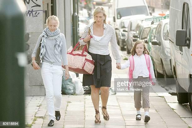 Princess Louise Maria of Belgium Princess Astrid of Belgium and Princess Laetitia Maria of Belgium arrive at Sint Jan Berchmans College to attend...