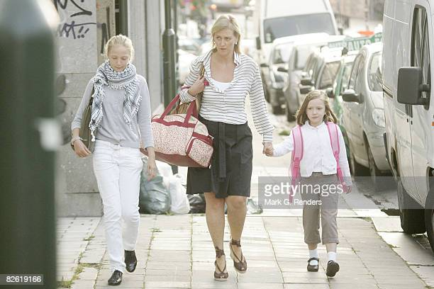 Princess Louise Maria of Belgium, Princess Astrid of Belgium and Princess Laetitia Maria of Belgium arrive at Sint Jan Berchmans College to attend...