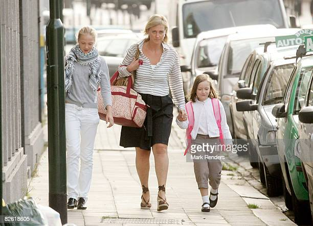Princess Louise Maria Princess Astrid and Princess Laetitia Maria of Belgium arrive at Sint Jan Berchmans College to attend first day of school on...