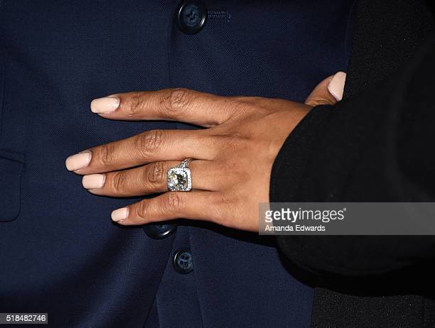 Princess Love engagement ring detail arrives at the WE tv celebration of the premiere of 'Kendra On Top' and 'Driven To Love' at Estrella Sunset on...