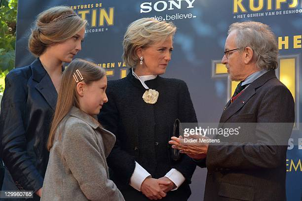 Princess Luisa Maria Princess Laetitia Maria Princess Astrid of Belgium and Steven Spielberg attend the World Premiere Photocall of 'TINTIN The...
