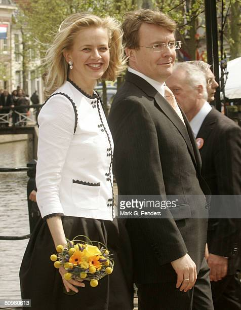Princess Mabel and Prince Friso from the Dutch Royal Family greet the crowd on Queensday April 30 2008 in Franeker The Netherlands