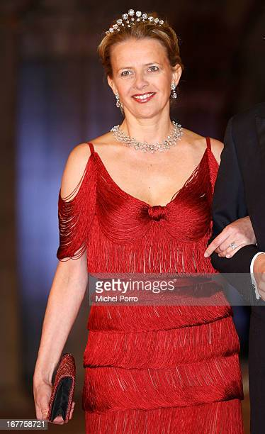 Princess Mabel attends a dinner hosted by Queen Beatrix of The Netherlands ahead of her abdication in favour of Crown Prince Willem Alexander at...