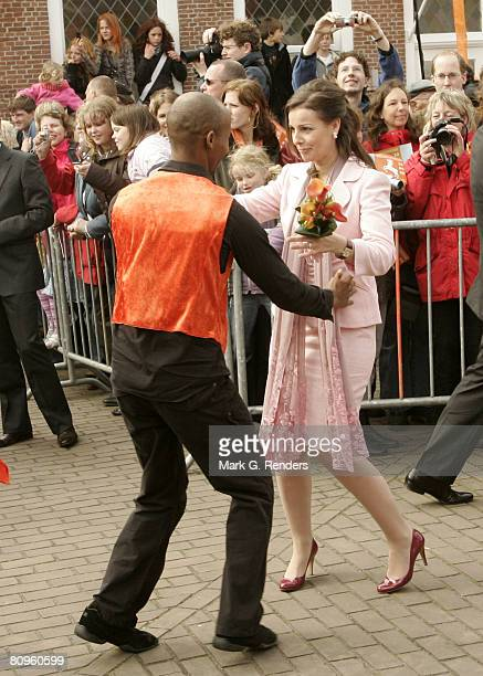 Princess Mabel from the Dutch Royal Family dances on the streets on Queensday April 30 2008 in Makkum The Netherlands