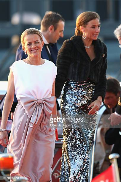 Princess Mabel of OrangeNassau and MarieHelene Angela van den Broek arrive at the Muziekbouw following the water pageant after the abdication of...