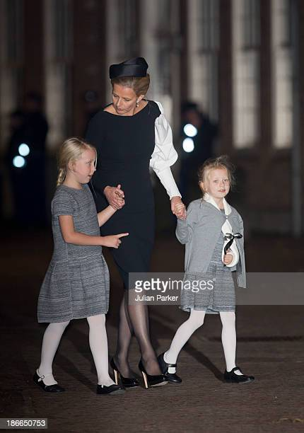 Princess Mabel of the Netherlands and daughters Countess Luana and Countess Zaria leave a memorial service for Prince Friso of The Netherlands who...