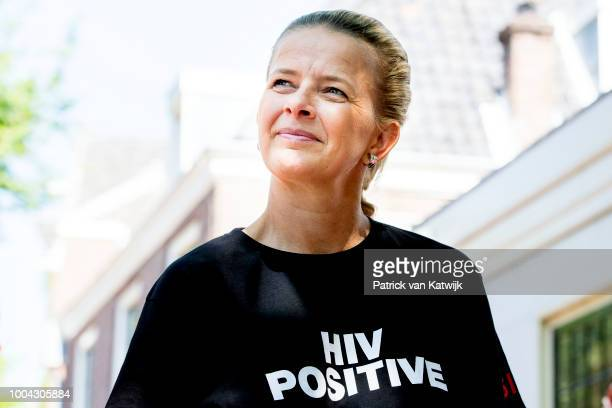 Princess Mabel of The Netherlands attends a protest march during the International Aids conference in the Rai on July 23, 2018 in Amsterdam,...