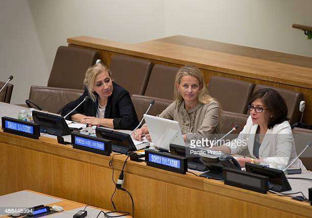 Princess Mabel Van Oranje Chair of 'Girls Not Brides The Global Partnership to End Child Marriage' during a talk at United Nations Headquarters in...