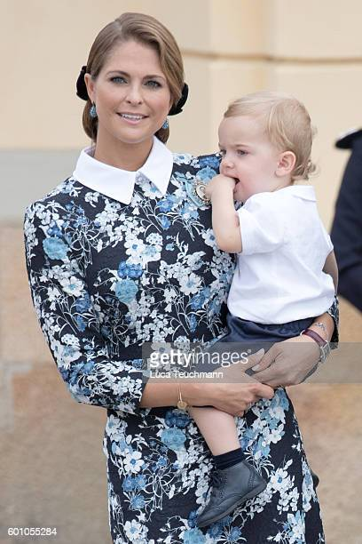 Princess Madeleine and Prince Nicolas attend the christening of Prince Alexander of Sweden at Drottningholm Palace Chapel on September 9 2016 in...