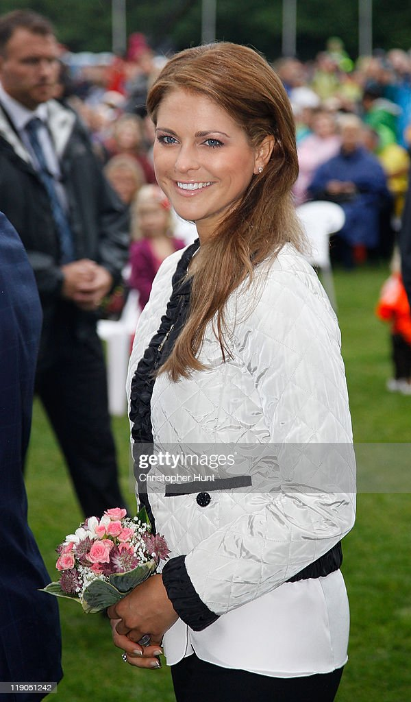 Princess Madeleine from Sweden, Duchess of Halsingland and Gastriklandattends an event celebrating Crown Princess Victoria's 34th birthday at Borgholm's Idrottsplats on July 14, 2011 in Borgholm, Sweden.