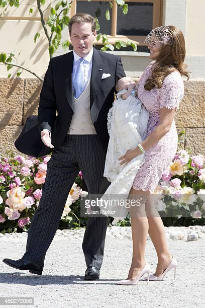 Princess Madeleine husband Christopher O'Neill and Princess Leonore attend the Christening of Princess Leonore at The chapel at Drottningholm Palace...