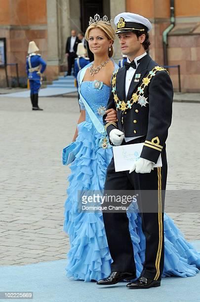 Princess Madeleine of Sweden and brother Prince Carl Philip of Sweden attend the wedding ceremony between Crown Princess Victoria of Sweden and...