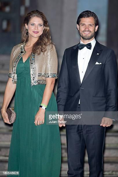 Princess Madeleine of Sweden and brother Prince Carl Phillip of Sweden arrive at the Swedish Riksdag's concert to celebrate King Carl Gustaf of...