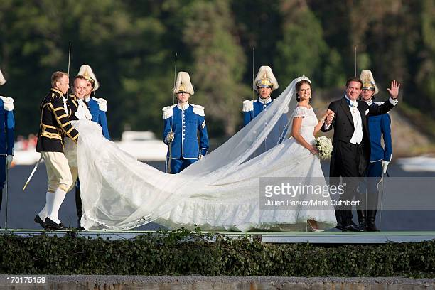Princess Madeleine of Sweden and Christopher O'Neill arrive at Drottningholm Palace to attend the evening banquet after their wedding hosted by King...