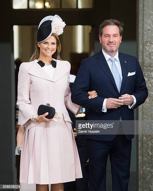 Princess Madeleine of Sweden and Christopher O'Neill arrive at the Royal Palace to attend Te Deum Thanksgiving Service to celebrate the 70th birthday...