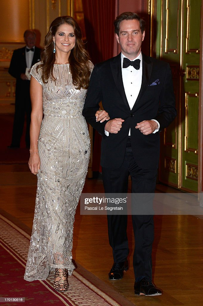 King Carl Gustav & Queen Silvia Host Private Dinner For The Wedding Of Princess Madeleine & Christopher O'Neill- Inside Arrivals : News Photo