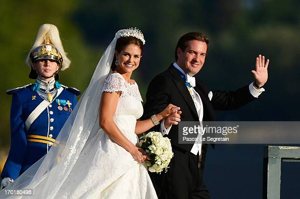 Princess Madeleine of Sweden and Christopher O'Neill attend the evening banquet after the wedding of Princess Madeleine of Sweden and Christopher...