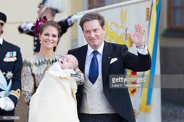 Princess Madeleine of Sweden and Christopher O'Neill carries her son Prince Nicolas are seen at Drottningholm Palace for the Christening of Prince...