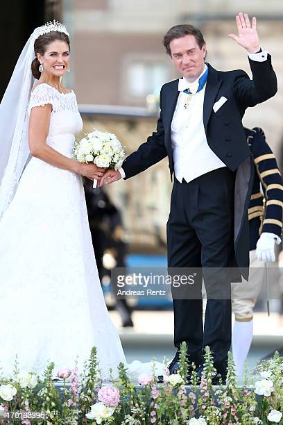 Princess Madeleine of Sweden and Christopher O'Neill depart from the wedding ceremony of Princess Madeleine of Sweden and Christopher O'Neill hosted...