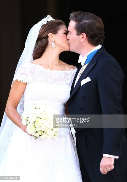 Princess Madeleine of Sweden and Christopher O'Neill kisse after the wedding ceremony of Princess Madeleine of Sweden and Christopher O'Neill hosted...