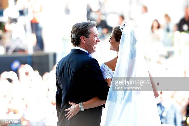Princess Madeleine of Sweden and Christopher O'Neill laugh after their wedding hosted by King Carl Gustaf and Queen Silvia at The Royal Palace on...
