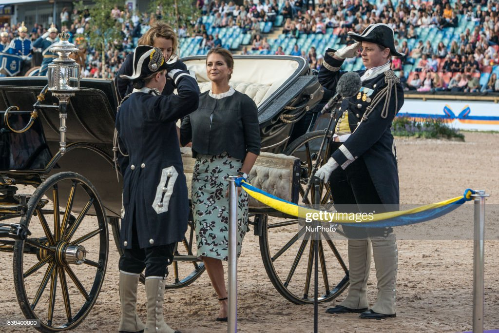 Princess Madeleine of Sweden and FEI General Secretary Sabrina Ibanez ride into Ullevi stadium in Gothenburg Sweden as part of the opening ceremony of the 2017 Longines FEI European Championships
