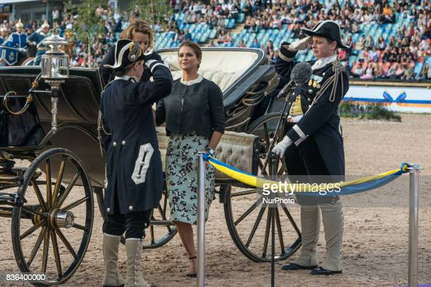 Princess Madeleine of Sweden and FEI General Secretary Sabrina Ibanez ride into Ullevi stadium in Gothenburg Sweden as part of the opening ceremony...