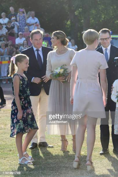 Princess Madeleine of Sweden and her husband Chris O'Neill are seen on the occasion of The Crown Princess Victoria of Sweden's 42nd birthday...