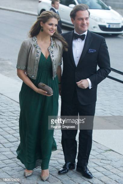 Princess Madeleine of Sweden and her husband Christopher O'Neill arrive at the Swedish Government dinner to celebrate King Carl Gustaf's 40th Jubilee...