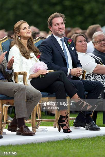 Princess Madeleine of Sweden and her husband Christopher O'Neill attend The Victoria Day Concert in Borgholm on Crown Princess Victoria of Sweden's...