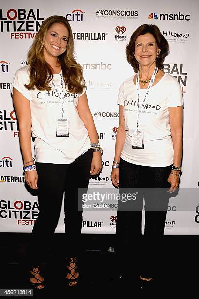 Princess Madeleine of Sweden and HRH Queen Silvia of Sweden attend the 2014 Global Citizen Festival to end extreme poverty by 2030 at Central Park on...