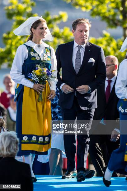 Princess Madeleine of Sweden and husband Chris O'Neil during the national day celebrations at Skansen on June 6 2017 in Stockholm Sweden