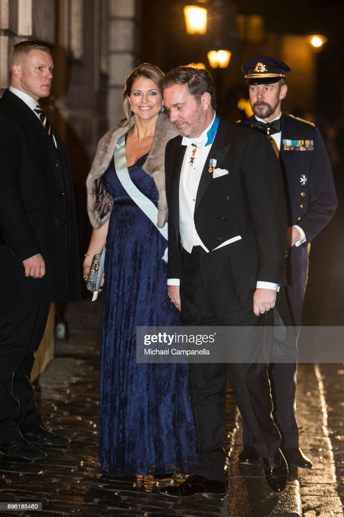 Princess Madeleine of Sweden and husband Chris O'Neill attend a formal gathering at the Swedish Academy on December 20, 2017 in Stockholm, Sweden.