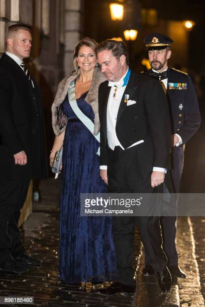 Princess Madeleine of Sweden and husband Chris O'Neill attend a formal gathering at the Swedish Academy on December 20 2017 in Stockholm Sweden
