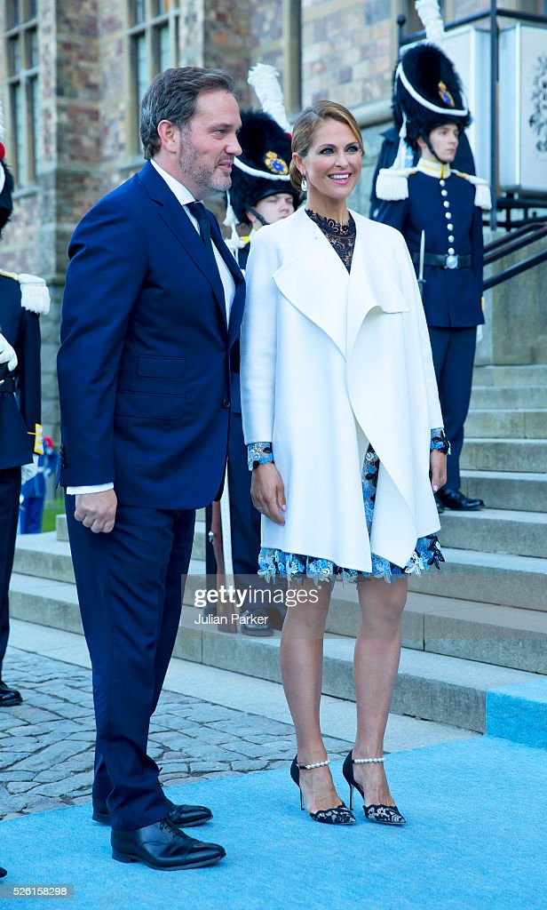 Princess Madeleine of Sweden, and husband Christopher O'Neill arrive for a Concert at the Nordic Museum, on the eve of King Carl Gustaf of Sweden's 70th Birthday, given by The Royal Swedish Opera, and The Stockholm Concert Hall, on April 29, 2016, in Stockholm, Sweden.