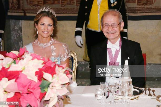 Princess Madeleine of Sweden and Nobel Prize in Chemistry laureate Akira Yoshino attend the banquet hosted by King Carl XVI Gustaf of Sweden at the...