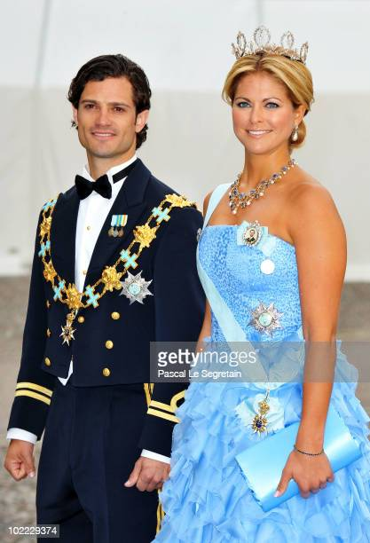 Princess Madeleine of Sweden and Prince Carl Philip of Sweden arrive to attend the Wedding Banquet for Crown Princess Victoria of Sweden and her...