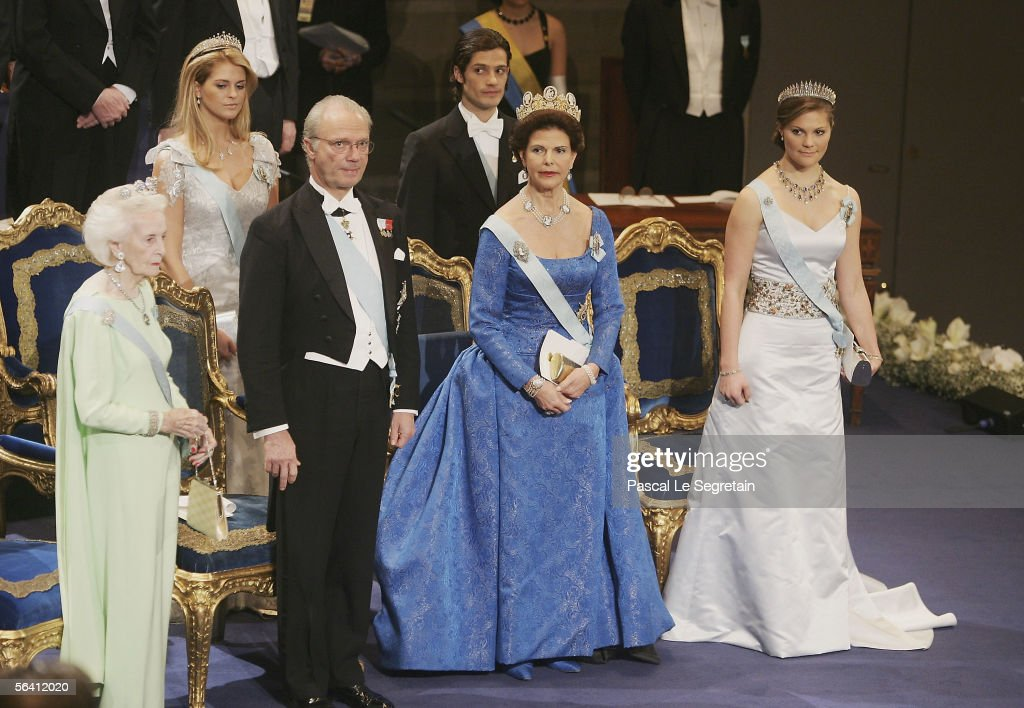 Princess Madeleine of Sweden and Prince Carl Philip of Sweden, ( front row, L-R) Princess Lilian of Sweden, King Carl XVI Gustaf of Sweden, Queen Silvia of Sweden and Crown Princess Victoria of Sweden attend the Nobel Foundation Prize 2005 at the Concert Hall on December 10, 2005 in Stockholm, Sweden.