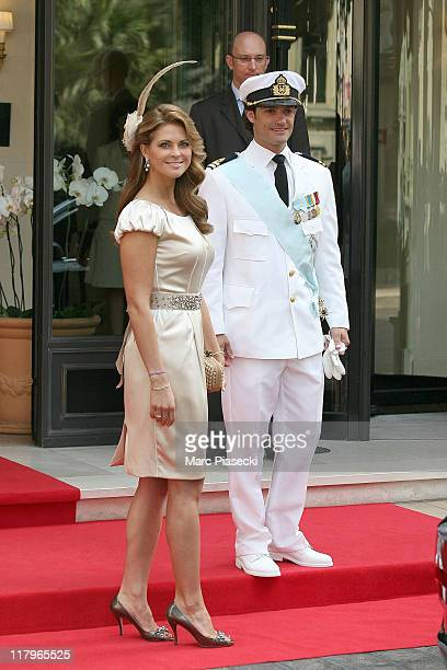 Princess Madeleine of Sweden and Prince Carl-Philip of Sweden leave the 'Hermitage' hotel to attend the religious ceremony of the Royal Wedding of...